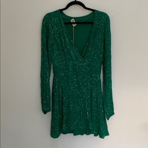 Sequins green wrap dress